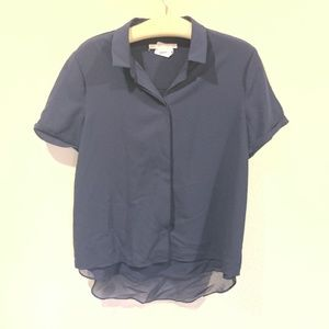 Cooper & Ella button down navy short sleeve blouse